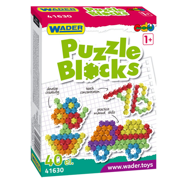 Klocki Puzzle w kartonie 40 el.