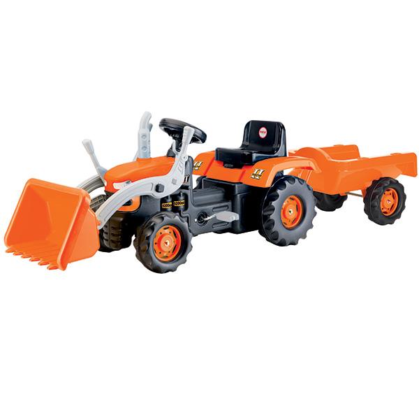 Traktor-koparka na pedały z przyczepą w kartonie