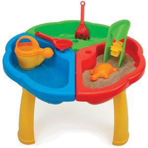 Stolik z zabawkami do piasku i wody